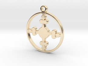 Queen of Clubs - Pendant in 14k Gold Plated Brass