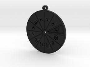 Gemini - Zodiac Pendant in Black Premium Versatile Plastic