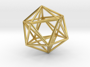 Icosahedron with Golden Rectangles in Polished Brass: 1:60