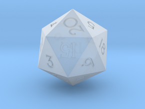 Sharp Edged d20 - Polyhedral RPG Dice in Smooth Fine Detail Plastic