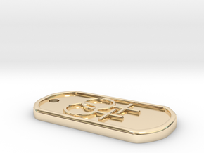 lesbian dog tag in 14K Yellow Gold
