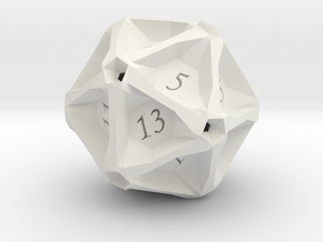 Geometric d20 [Plastics] (engraved) in White Natural Versatile Plastic