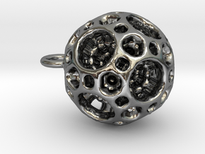 Mini geometric sphere pendant in Polished Silver