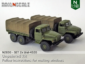 SET 2x Ural-4320 (N 1:160) in Smooth Fine Detail Plastic