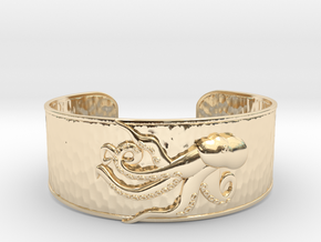 Playful Octopus Large Hammered Cuff in 14K Yellow Gold