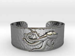 Playful Octopus Large Hammered Cuff in Fine Detail Polished Silver