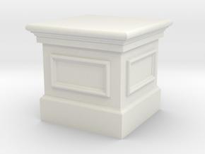 Miniature 1:48 Short Statue Plinth in White Natural Versatile Plastic