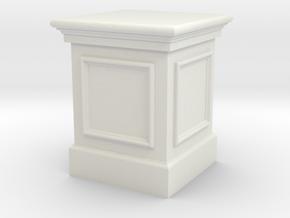 Miniature 1:48 Tall Statue Plinth in White Natural Versatile Plastic