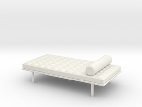 Miniature Doll House 1:12 Barcelona Daybed in White Natural Versatile Plastic