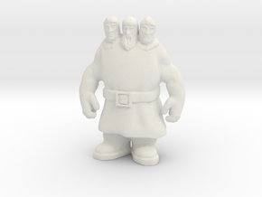 Monty Python Three Headed Giant DnD miniature game in White Natural Versatile Plastic
