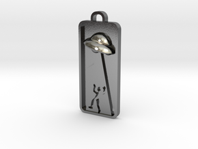 UFO Abduction Pnedant in Polished Silver