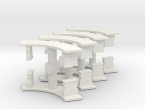 Curved Garden Bench (x8) 1/76 in White Natural Versatile Plastic