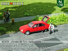 Citroën BX tyre replacement (N 1:160) in Smooth Fine Detail Plastic