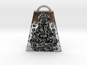 Lord Ganesha Amulet OM GUM GANAPATAYE NAMAHA in Antique Silver