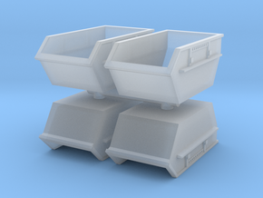 Construction Waste Container (x4) 1/160 in Smooth Fine Detail Plastic