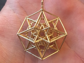24 Cube Tesseract Pendant in Natural Brass