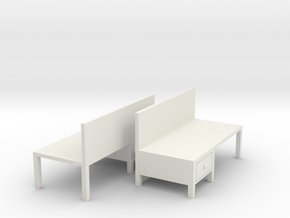 Workbench Table (x2) 1/87 in White Natural Versatile Plastic