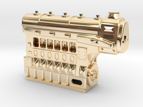Fairbanks-Morse 1034HP 6cyl Diesel Engine in 14k Gold Plated Brass: 1:48 - O