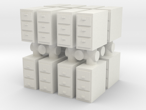 Office Cabinet (x16) 1/87 in White Natural Versatile Plastic