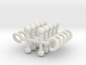 Time Traveler T-Hook in White Natural Versatile Plastic: Large