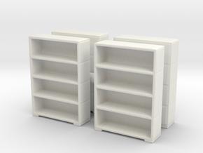 Bookshelf (x4) 1/100 in White Natural Versatile Plastic