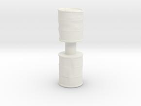 Damaged Oil Barrels (x2) 1/56 in White Natural Versatile Plastic