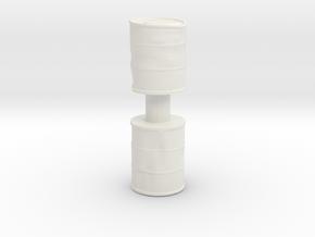 Damaged Oil Barrels (x2) 1/48 in White Natural Versatile Plastic