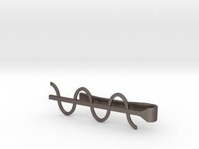 Cosine Wave Tie Bar (Metals) in Polished Bronzed Silver Steel