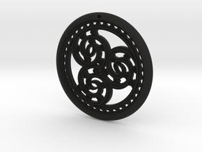 Hangarite Earring version two ~30mm diameter in Black Premium Versatile Plastic