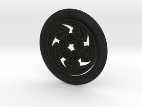 Hangarite Pendant ~ version 3 - 35mm diameter in Black Premium Versatile Plastic