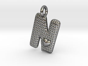 Letter Pendant with Heart -  'N' in Polished Silver