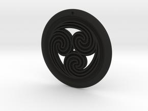 Hangarite Earring ~ version 4 - 34.5mm diameter in Black Premium Versatile Plastic
