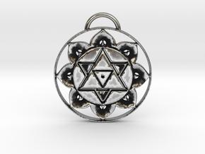 Lord Shiva Yantra Pendant in Antique Silver