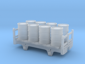 2 axle framed wagon with upright barrels in Smooth Fine Detail Plastic