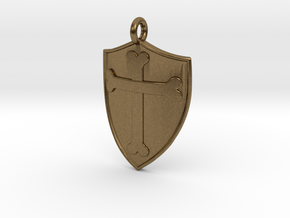Medieval Shield Pet Tag / Pendant in Natural Bronze