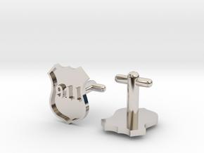 911 Police Shield Cufflinks Silver/Brass/bronze in Platinum