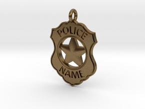 Police Badge Pet Tag / Pendant / Key Fob in Natural Bronze