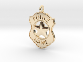 Police Badge Pet Tag / Pendant / Key Fob in 14K Yellow Gold
