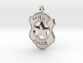 Police Badge Pet Tag / Pendant / Key Fob in Platinum