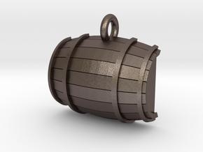 Keg / Barrel Pet Tag in Polished Bronzed Silver Steel