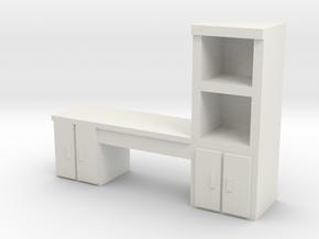 Cabinet Office Desk 1/43 in White Natural Versatile Plastic
