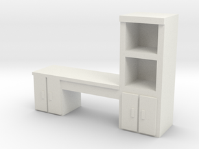 Cabinet Office Desk 1/12 in White Natural Versatile Plastic