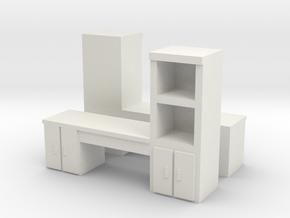 Cabinet Office Desk (x2) 1/144 in White Natural Versatile Plastic