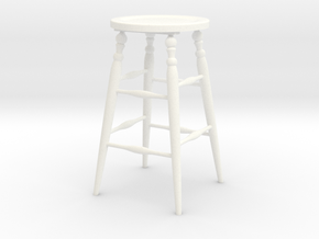 Stool in White Processed Versatile Plastic