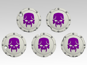 Skull 1 Round Shields x40 in Smooth Fine Detail Plastic
