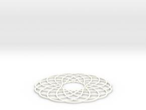 Spirograph Coaster in White Processed Versatile Plastic