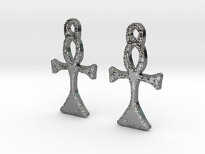:Simple Ankh: Earrings in Fine Detail Polished Silver