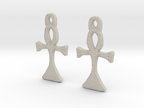 :Simple Ankh: Earrings in Natural Sandstone