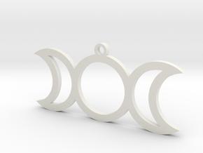 Triple Goddess Moon Charm (style 2) in White Natural Versatile Plastic