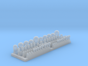 1:1250 Supercarrier SATCOM Domes in Smooth Fine Detail Plastic